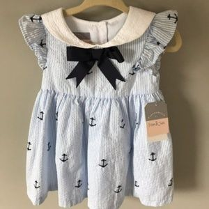 new with tags baby girl nautical dress